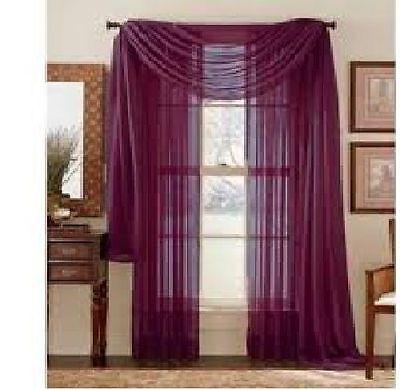 "SHEER / SCARF Window Treatments Curtains Drape Valances 63"" 84"" 95"" BURGUNDY"