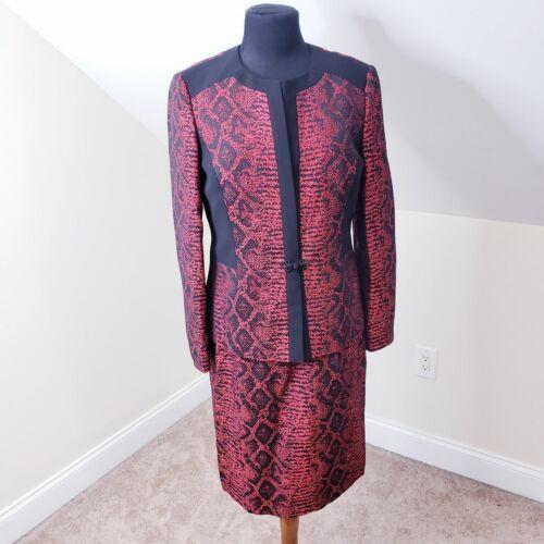 Albert Nipon Red Black Dress Suit Sheath Jacket