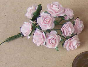 1-12-Scale-Single-Bunch-10-Flowers-Of-Pink-Paper-Roses-Tumdee-Dolls-House-J