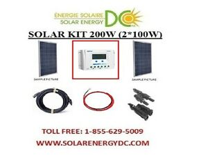 solar panel kit panneau solaire 200 watt 2 100 w poly. Black Bedroom Furniture Sets. Home Design Ideas