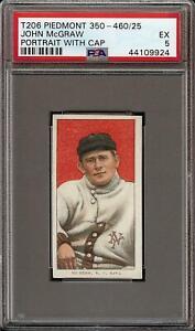 Rare-1909-11-T206-HOF-John-McGraw-Portrait-W-Cap-Piedmont-New-York-PSA-5-EX