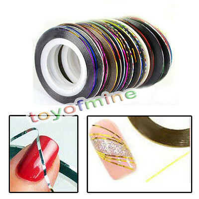 31Pcs Mixed Colors Rolls Striping Tape Line DIY Nail Art Tips Decoration Sticker