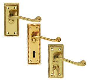 Victorian Straight Internal Door Handle Set Polished Brass Key Lock or Bathroom