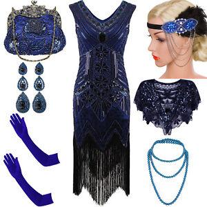 1920\'s Flapper Dress Gatsby Charleston Sequin Fringe Party ...