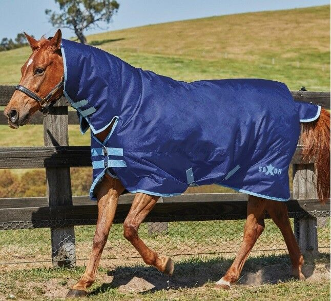 Saxon Medium Weight Combo Turnout Rugs - Navy With bluee Trim In Various Sizes