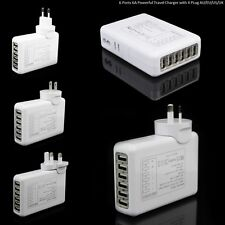 6 Ports 6Amp USB Multi Adapter Travel Wall Charger Supply UK/AU/US/EU Plug WHITE