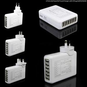 6-PORTE-6amp-USB-Multi-Adattatore-Caricatore-a-parete-Da-Viaggio-Alimentazione-UK-AU-US-EU-Spina