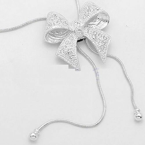CRYSTAL BOWKNOT BUTTERFLY LONG PENDANT NECKLACE RHINESTONE SWEATER CHAIN