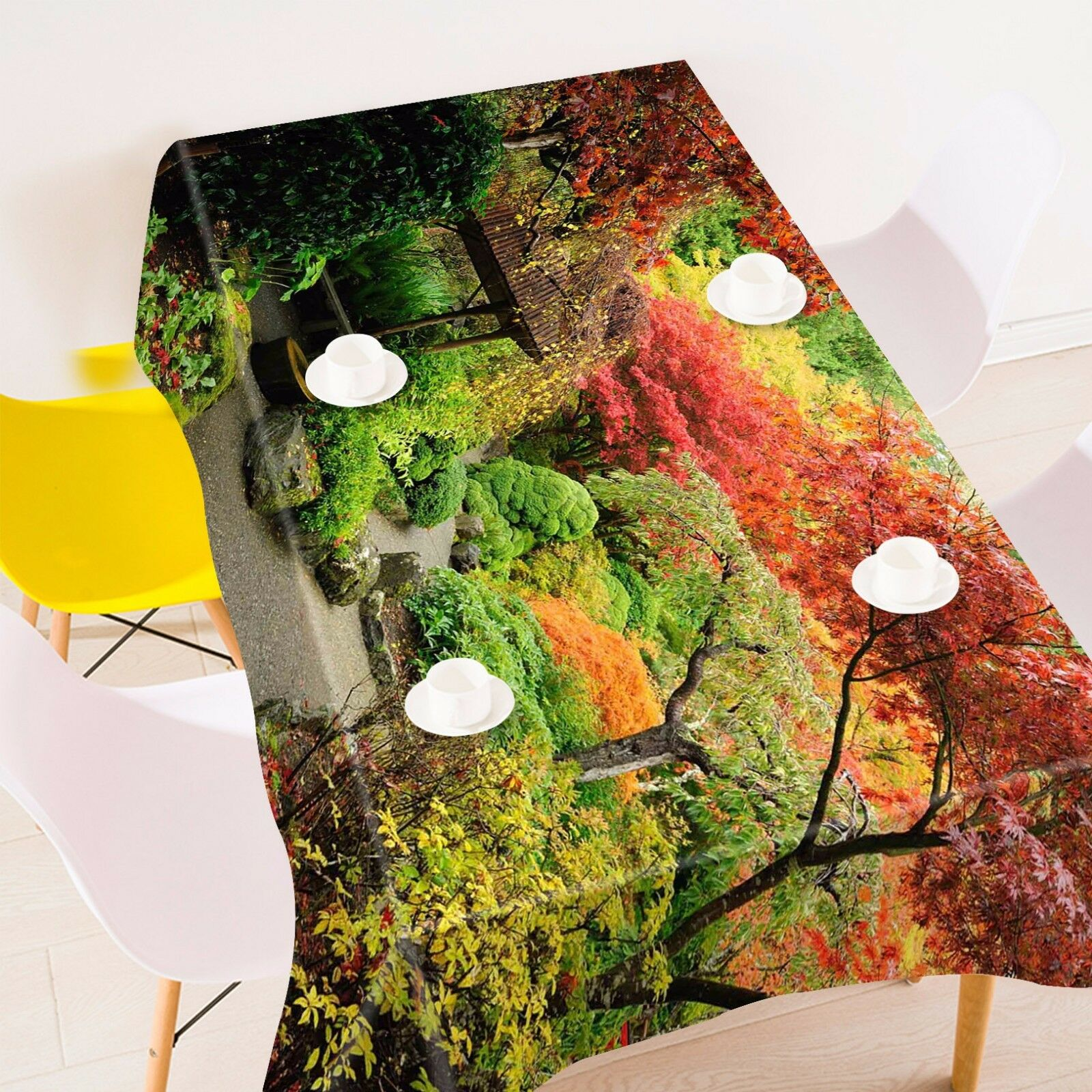 3D Park Trees Tablecloth Table Cover Cloth Birthday Party AJ WALLPAPER UK Lemon