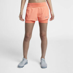 """Details about Womens NIKE Flex Eclipse 2 in 1 Running Shorts Size XL (3"""") 895813 827"""