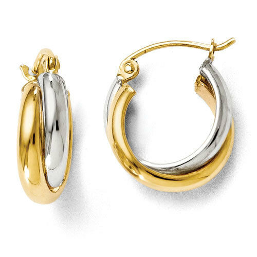 Leslies 14k Two Tone Polished 6mm x 14mm Hinged Hoop Earrings