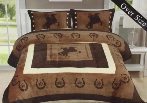 Quality Guaranteed Same Day Shipping!! 3pc Rodeo Cowboy Horse Sherpa Blanket