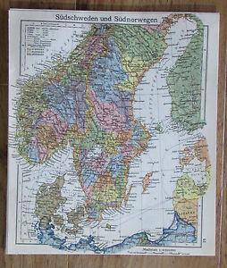 Karte Südnorwegen.Details Zu Südschweden Südnorwegen Skandinavien Alte Karte Landkarte Aus 1922 Old Map