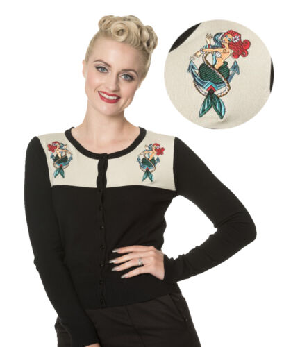 Banned Apparel Vintage Rockabilly Mermaid Black//Cream Cardigan Button Top