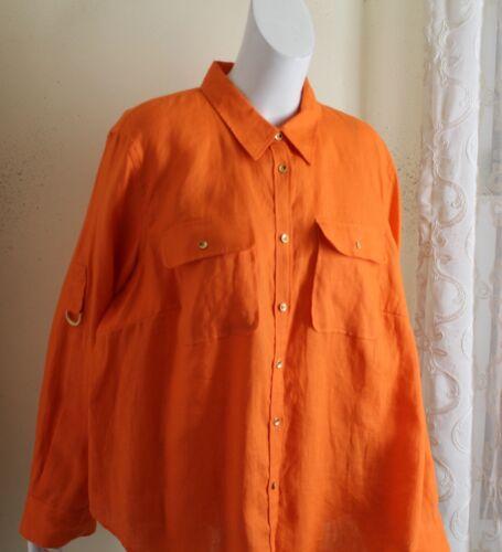 Ralph Lauren Sz 2X Orange Lux 100% Linen Blouse Sh