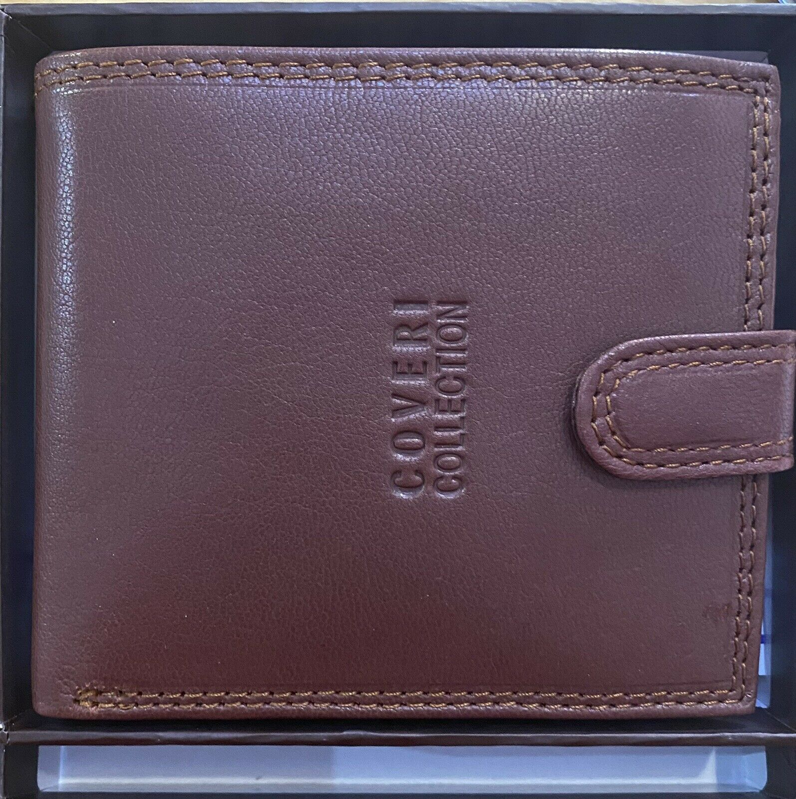 Wallet Coveri Collection Brown Leather With Button