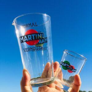 Set-bicchierone-mixer-shaker-misurino-MARTINI-in-vetro-orig-anni-60