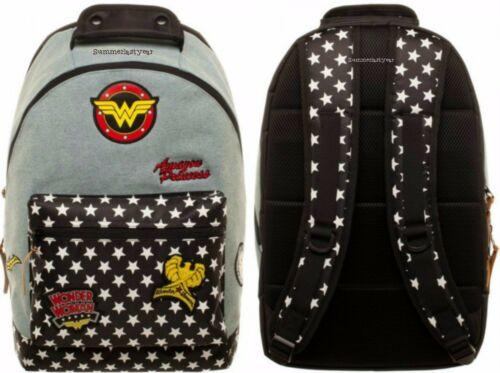 Licensed DC Comics WONDER WOMAN Large Denim Backpack With Multiple Logo Patches