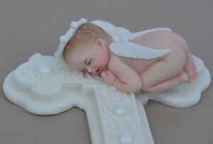 Comestibles Baby Angel En Alas De Ángel Personalizados Bautizo Bautismo Cake Topper