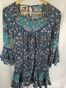 Jaase-Boho-Gypsy-Printed-Mini-Long-Sleeve-Floral-Dress-Womans-Size-S