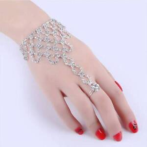 Rhinestone-Bangle-Chain-Link-Finger-Ring-Women-Chain-Dancing-Gloves-Bracelet