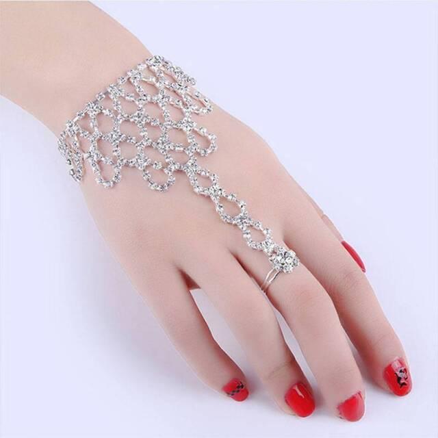 Chain Link Finger Ring Rhinestone Bangle Wedding Bride Wristband Bracelet