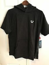 NWT True Religion Mens' Distressed Short Sleeve Hoodie Side Zipper Black Size L