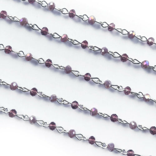 Purple Crystal Glass Tiny Rondelle Beaded Rosary Silver Eyepin Chain 4mm 2ft