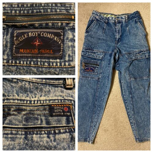 Vinage Bugle Boy Denim Acid Dark Wash Jeans 80s VT