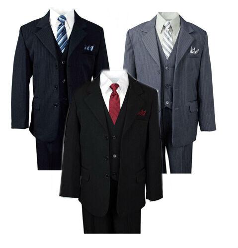 Toddler Boys Formal Suit Pinstripe 5 pcs Set Jacket Dress Shirt Vest Tie Pants