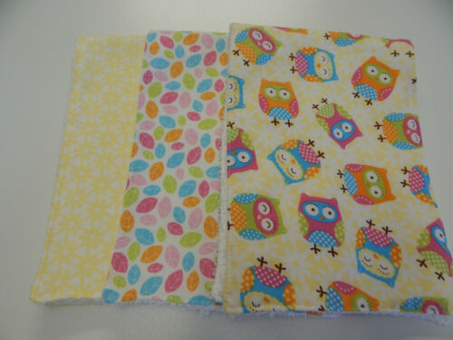 Burp Cloths Owls on Lemon 3 Pack Toweling Backed GREAT GIFT IDEA!!