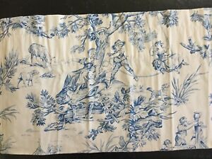 2-Pair-FRENCH-Toile-Country-Valance-Lined-Rod-Pocket-Blue-Straight-amp-Swag
