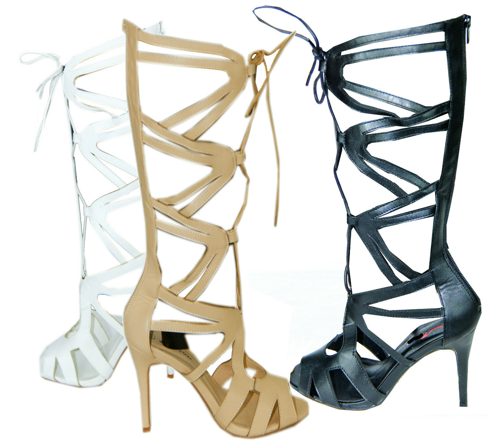 RJ08 NEW HIGH STILETTO HEEL LACE UP CUT OUT LADIES KNEE SHOES.
