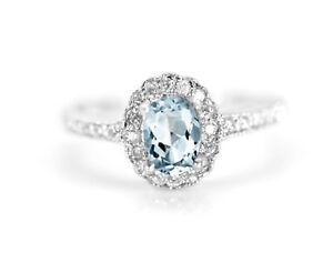 925-Sterling-Silver-Ring-Blue-Aquamarine-Natural-Halo-Gemstone-Size-4-11