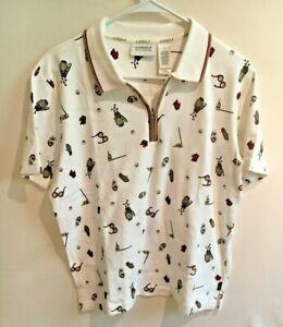 Women's Liz Golf All Over Print Qtr Zip Polo Shirt Size Medium Collared