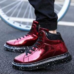 Vogue-Homme-Punk-Lace-Up-High-Top-Sneakers-Creepers-Chaussures-Decontractees-Neuf-Bottines