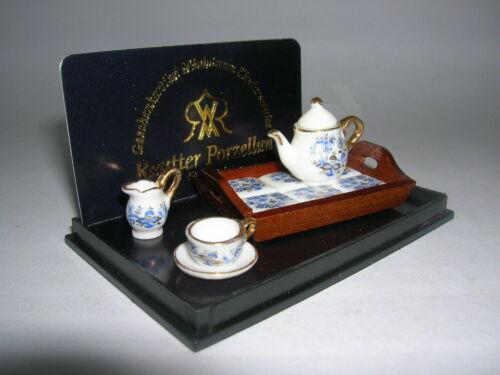 Reutter Porcelain Teaset Onion Blue Onion Tea for One W//Tray Doll 1:12