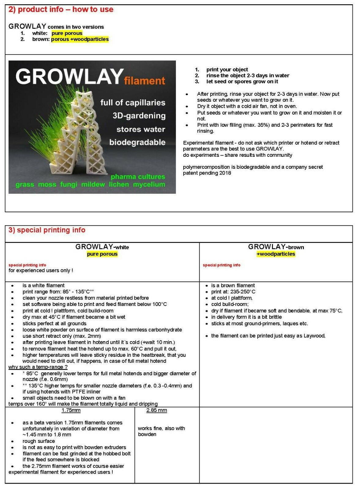 Growlay Brown Bio-degradable Porous Woodparticles 3d Printing Filament 1 75  Mm