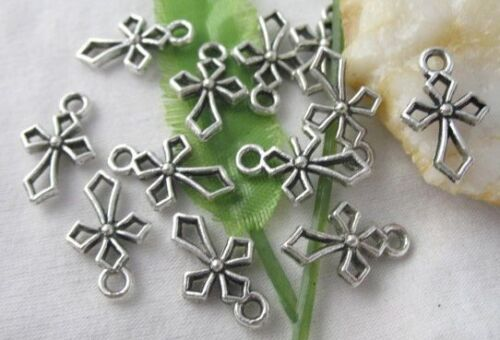 40pcs Tibetan Silver Crafted Cross Frame Charms R1392