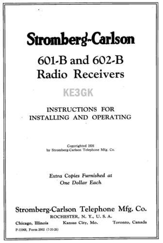 PDF CDROM Stromberg-Carlson 601-B 602-B  Operating Instructions