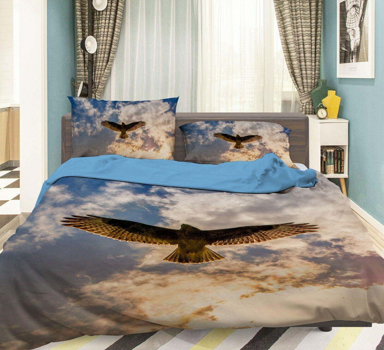 3D Buzzard I06 Animal Bed Pillowcases Quilt Duvet Cover Queen King Angelia
