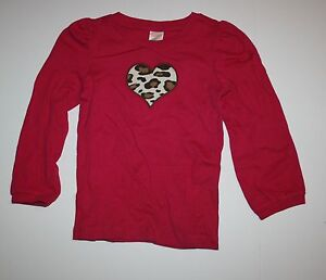 New-Gymboree-Outlet-Pink-Leopard-Heart-Long-Sleeve-Shirt-Tee-Top-NWT-Size-6-Year