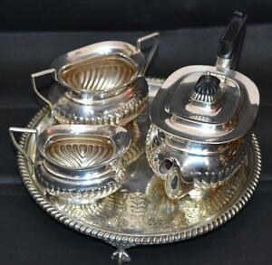 Image is loading Vintage-Atkin-Brothers-of-Sheffield-4-Piece-EPNS- & Vintage Atkin Brothers of Sheffield 4 Piece EPNS Silver Plated Tea ...