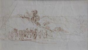 Studie-mit-Figuren-und-Reitern-in-Landschaft-Delacroix-19-Jhd