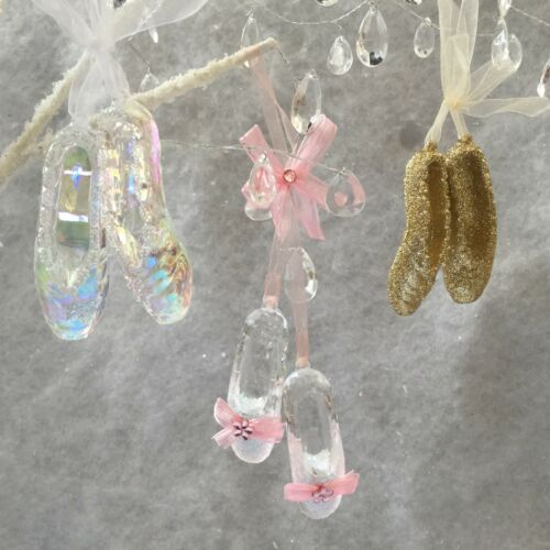 Ballet Shoes Hanging Decoration Iridescent Rainbow Pink Christmas Tree Glitter
