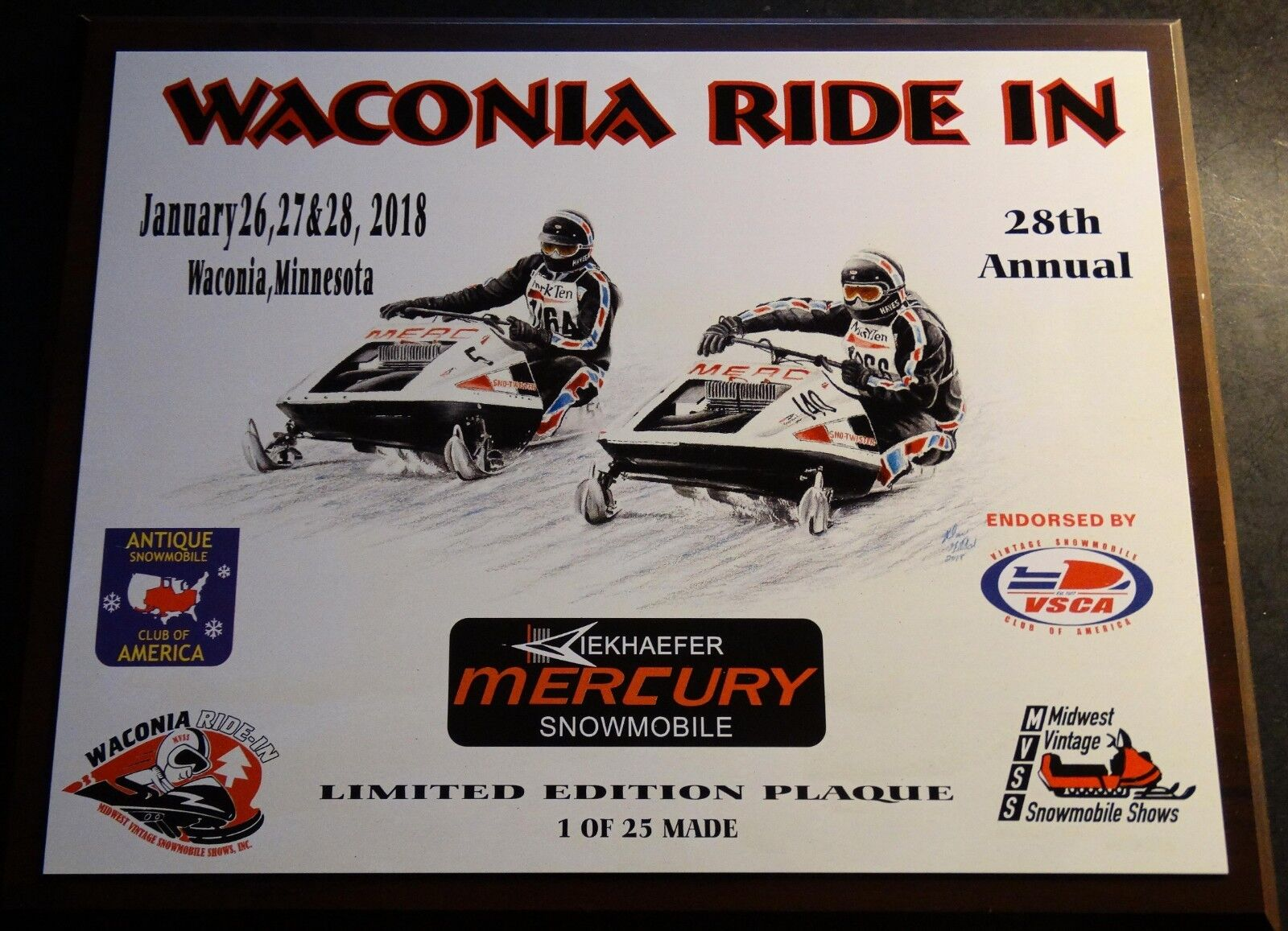 MERCURY TWISTER SNOWMOBILES WACONIA RIDE IN 2018 LIMITED COLLECTOR PLAQUE