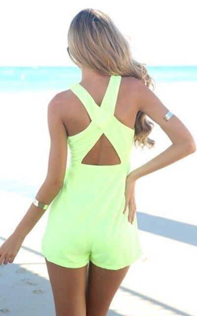 Women Summer Beach Jumpsuit Hollow Cross Playsuit Dress Evening Party Shorts -B