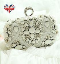 White beaded rhinestone box clutch wedding bag purse handbag rhinestone crystal