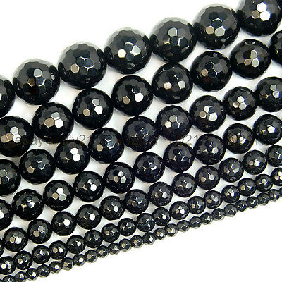 "Natural Black Onyx Agate Faceted Round Beads 15"" 4mm 6mm 8mm 10mm 12mm 14mm"