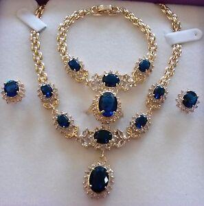 SET-Blue-sapphires-GOLD-GF-matching-necklace-bracelet-ring-earrings-PLUM-UK-BOXD